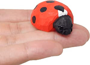 Native Wooden Creations Lady Bug Figurine Statue Red Beetle Patio Miniature Garden Lawn Yard Home Decor Art