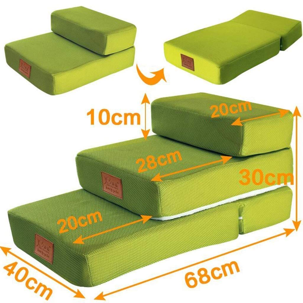 Green 406830 cmPet 2 Layer Pet Stair Foldable Pet Dog Training Game Stairs Sponge Stairs Climb Stairs NonSlip Durable Pet Sofa Trapezoidal Cushion (color   Pink, Size   40  68  30 cm)