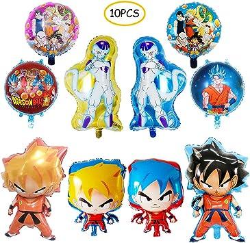 10 globos de Dragon Ball Z, globos de fiesta de cumpleaños, DBZ Super Saiyan Goku Gohan decoraciones de fiesta de personajes: Amazon.es: Juguetes y juegos