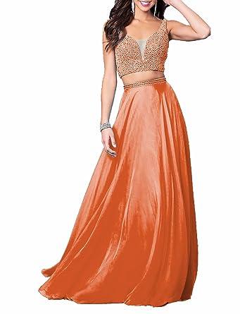 Monalia Womens 2 Piece Beading Prom Dresses 2018 Long Homecoming Dresss Size 2 Orange
