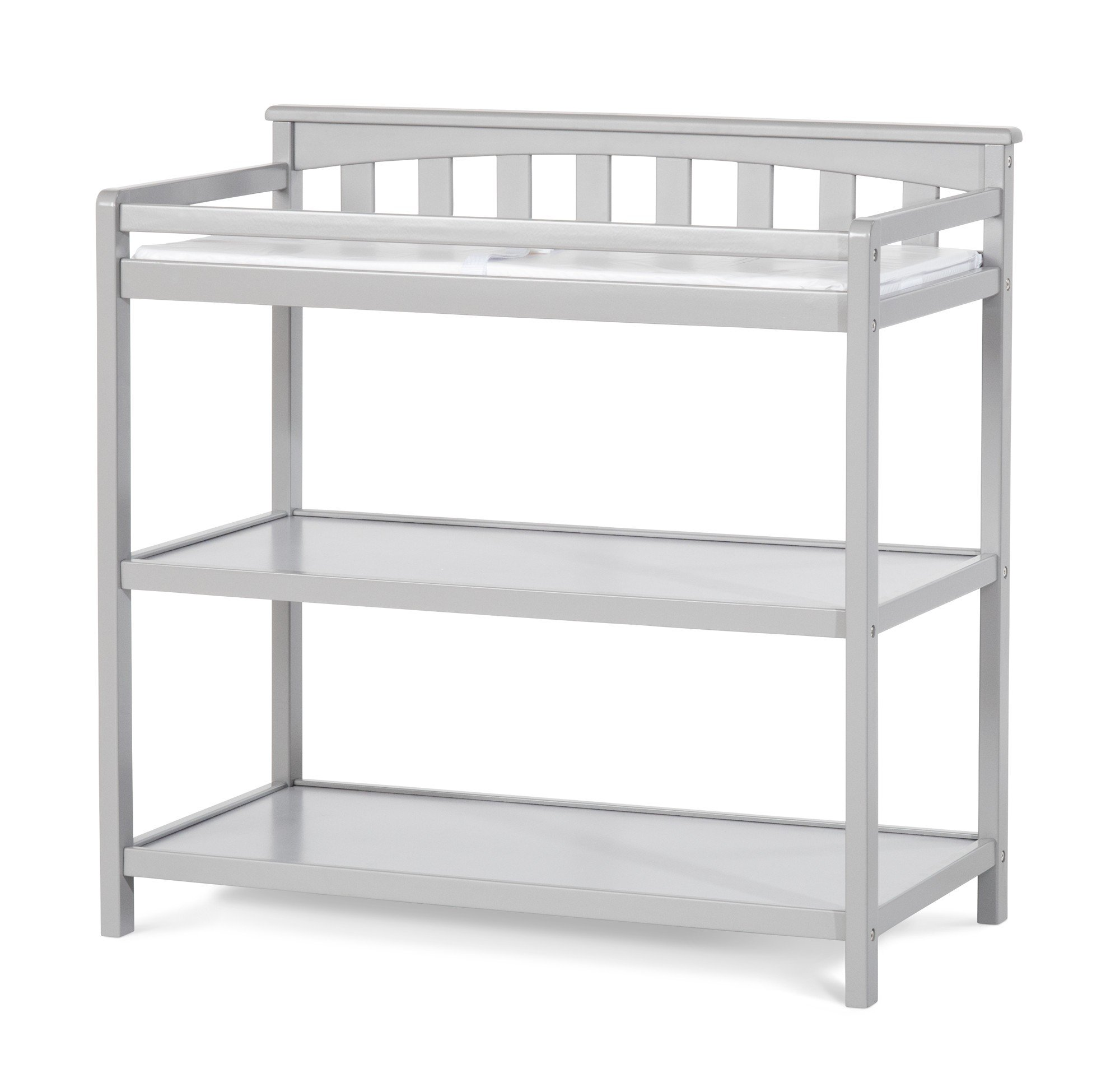 Child Craft Flat Top Changing Table with Pad, Cool Gray