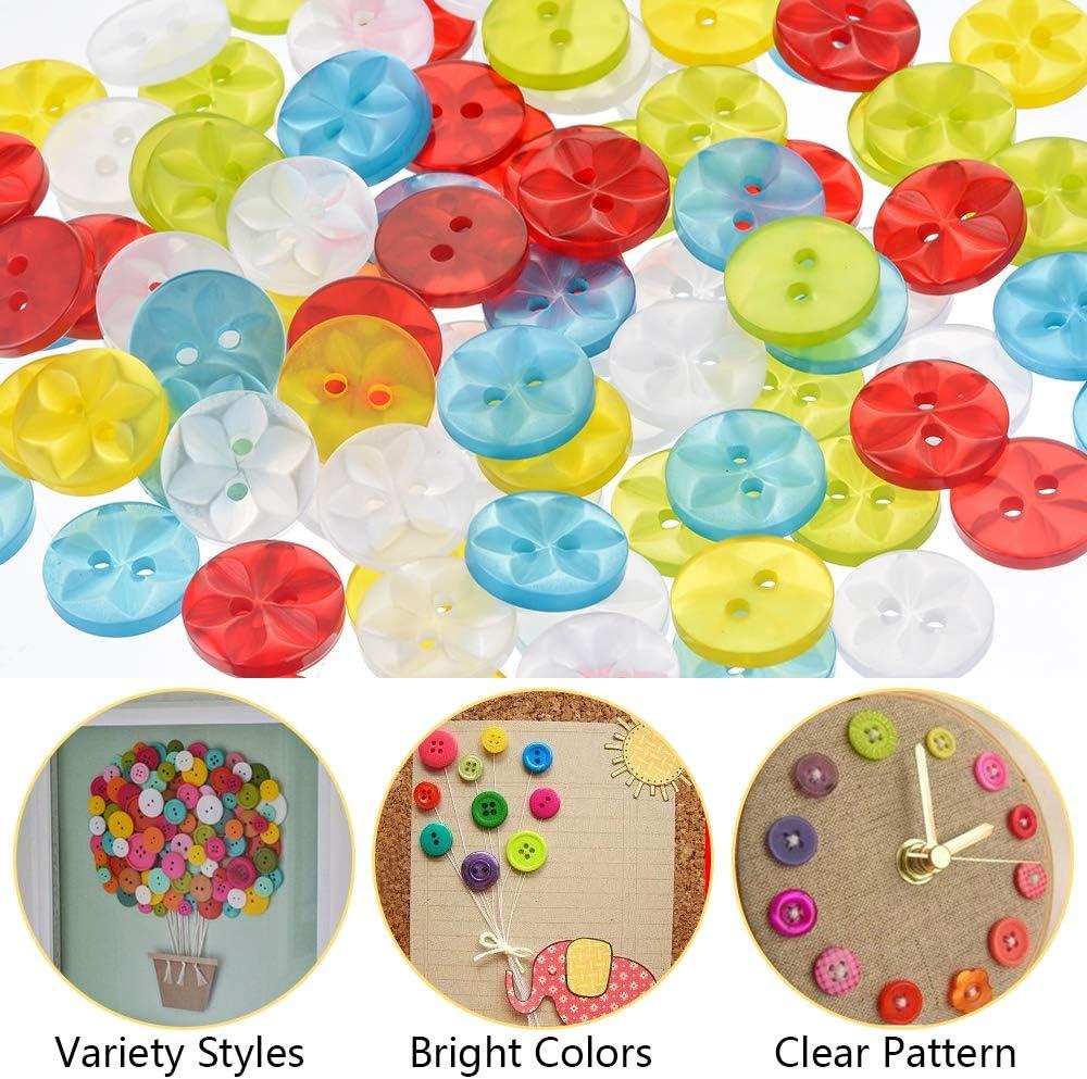 100pcs Plat Bouton Couleurs Mélangées Résine Boutons 2 Trous À faire soi-même Sewing Crafts 9-23 mm