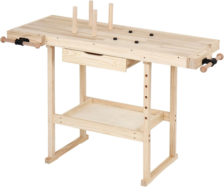 Jago - Banco de trabajo de madera aprox. 117 x 47,5 x 83 cm: Amazon.es: Bricolaje y herramientas