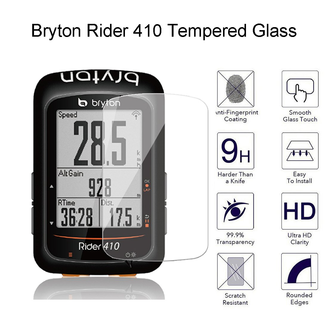 LUXACURY Bryton Rider 410 9H Protector de Pantalla de Vidrio Temperado, 2 Pack Protector de Pantalla para Bryton Rider 410 Smart Watch ...