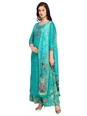 aa10af18ae AKHILAM Women's Cotton Blend Embroidered Unstitched Salwar Suits Salwar Suit  Material With Palazzo Set (Sea Green_Free Size): Amazon.in: Clothing & ...