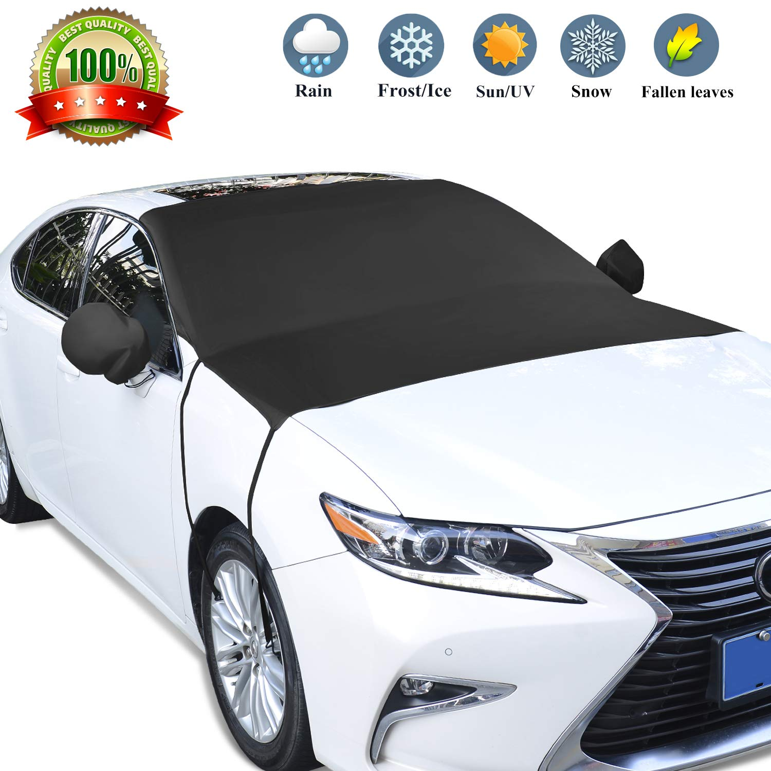 GikPal Car Windshield Snow Cover, SUVs Windscreen Sun Shade Protector UV Rays Heat Dust Cover Frost Ice Cover with Hooks and Buckle Juzheng