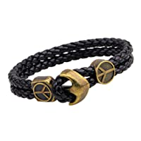 Young & Forever Navratri Jewellery & Diwali Gifts for Family and Friends MenTastic Uber Stylish Antique Anchor Black Genuine Leather|Metal Wrist Band Bracelet for Men/Boys (B548)