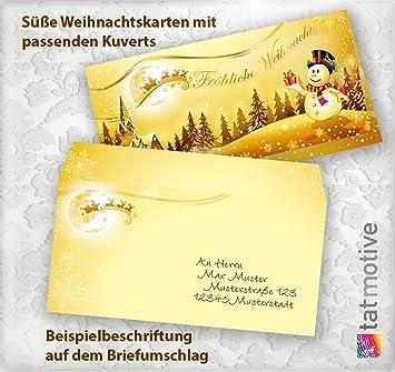 Einlegeblätter Für Weihnachtskarten.Tatmotive 0066 Premium Top Qualität Weihnachtskarten Lustig Schneemann 10 Sets Mit Umschläge Und Einlegeblätter