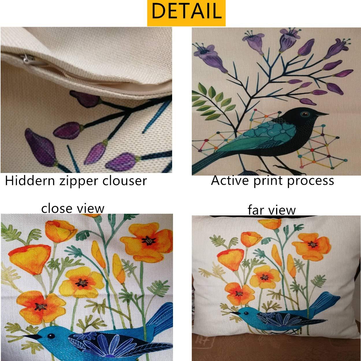 Unibedding Outdoor Decorative Throw Pillow Covers Case Birds D/écor Vintage Spring Cushion Cotton Linen 18x18 Set of 2 Patio Couch Sofa
