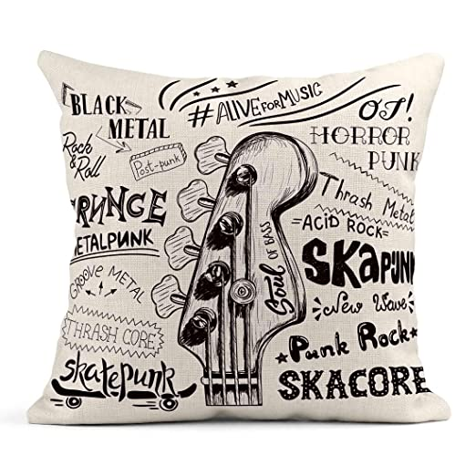 Kinhevao Throw Pillow Music Sketch Bass Guitar para Rock ...