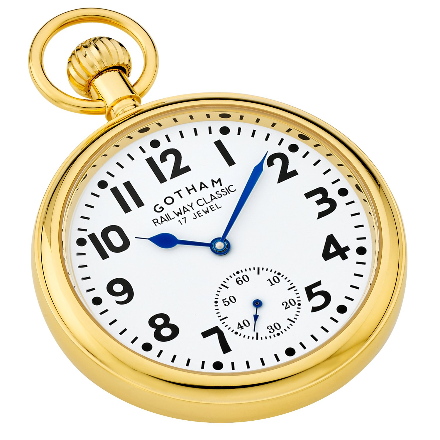 Gotham Men's Gold-Tone Mechanical Hand Wind Railroad Pocket Watch # GWC14104G by Gotham (Image #2)