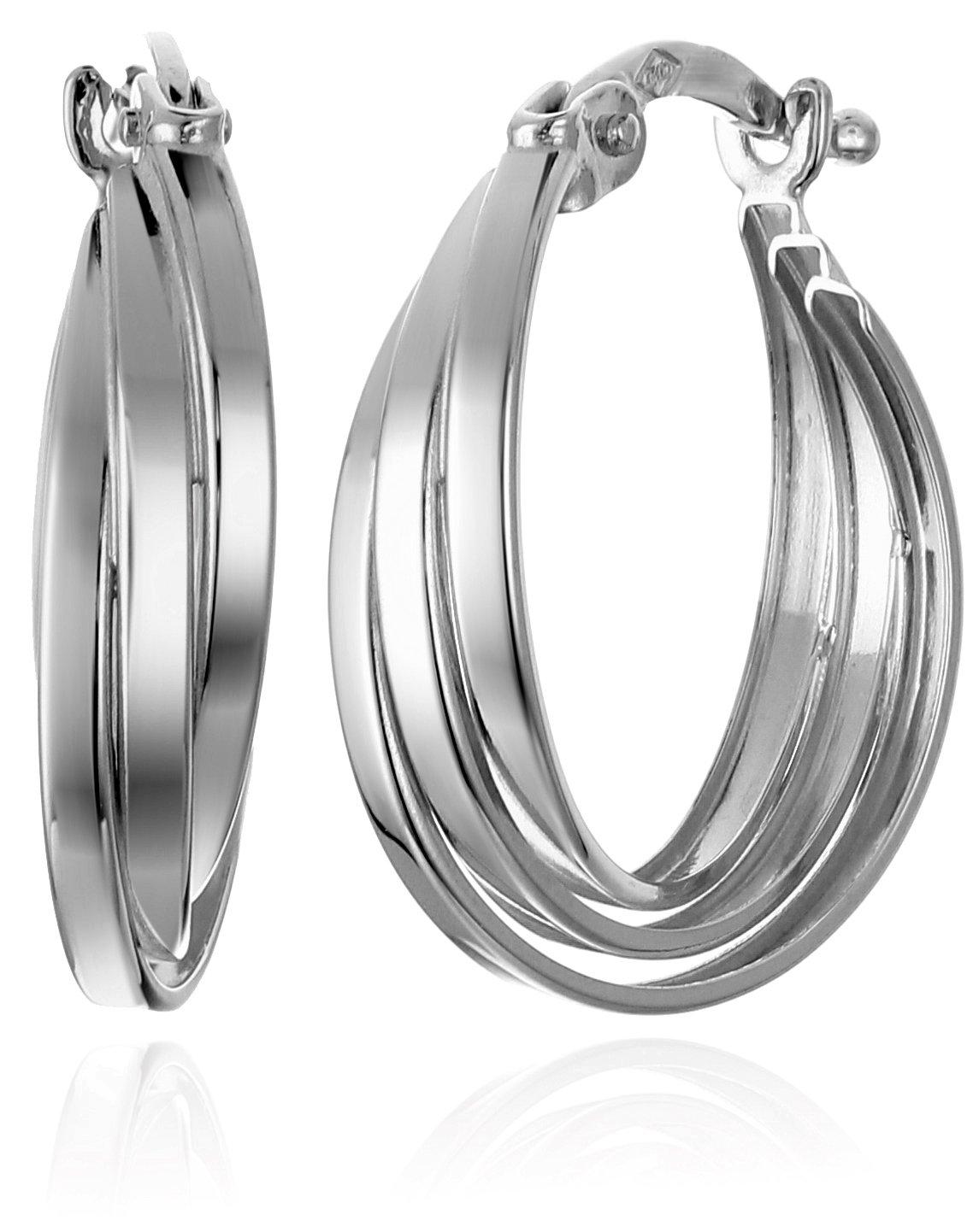 14k White Gold Overlap Hoop Earrings