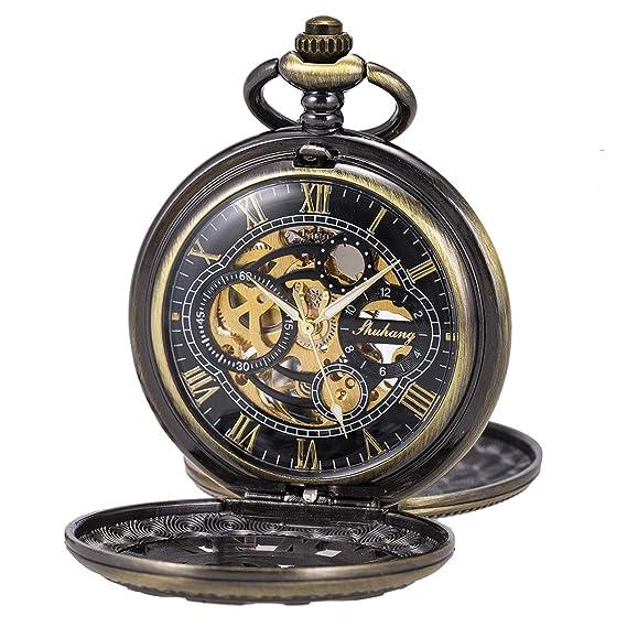 Reloj de Bolsillo Esqueleto Mecánico Caja Doble Mano Viento SIBOSUN Números Romanos Caja Cadena Antigua Bronce: Amazon.es: Relojes