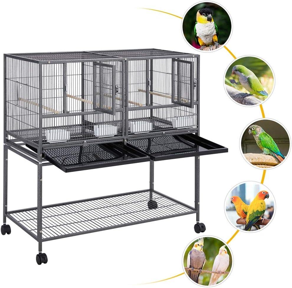 Yaheetech Jaula Cría para Pájaros Canarios Periquitos Jaula Grande con Soporte Ruedas