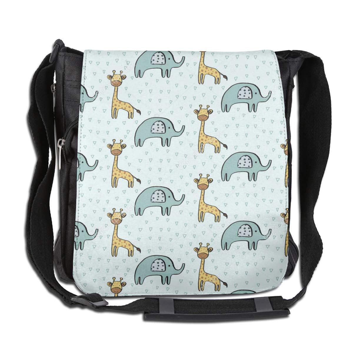 Giraffe and Elephant Fashion Diagonal Single Shoulder Workout Bag