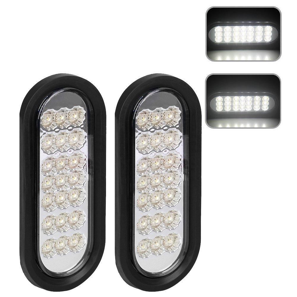 2pcs 6' Inch Oval Trailer Tail Lights 21 White LED Reverse Backup Trailer Lights Turn Signal Brake Lights Flush Mount for RV Truck Boat Trailer Waterproof [DOT Certified, Grommet] PUENGSI
