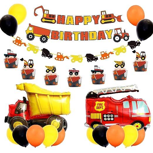 Conjunto de suministros para la fiesta de cumpleaños de construcción, excavadora, excavadora, camión, camión, decoraciones para fiestas, globos para ...