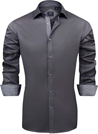 J.VER Men's Casual Long Sleeve Stretch Dress Shirt Wrinkle-Free Regular Fit Button Down Shirts