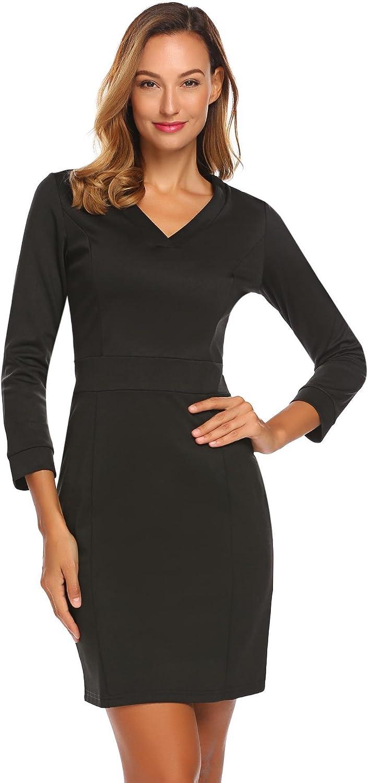 Modfine Damen Etuikleid Langarm mit V-Ausschnitt Kontrast Kleid Figurbetontes Kleid Stretch Business Kleid Abendkleid Slim Fit Kurz