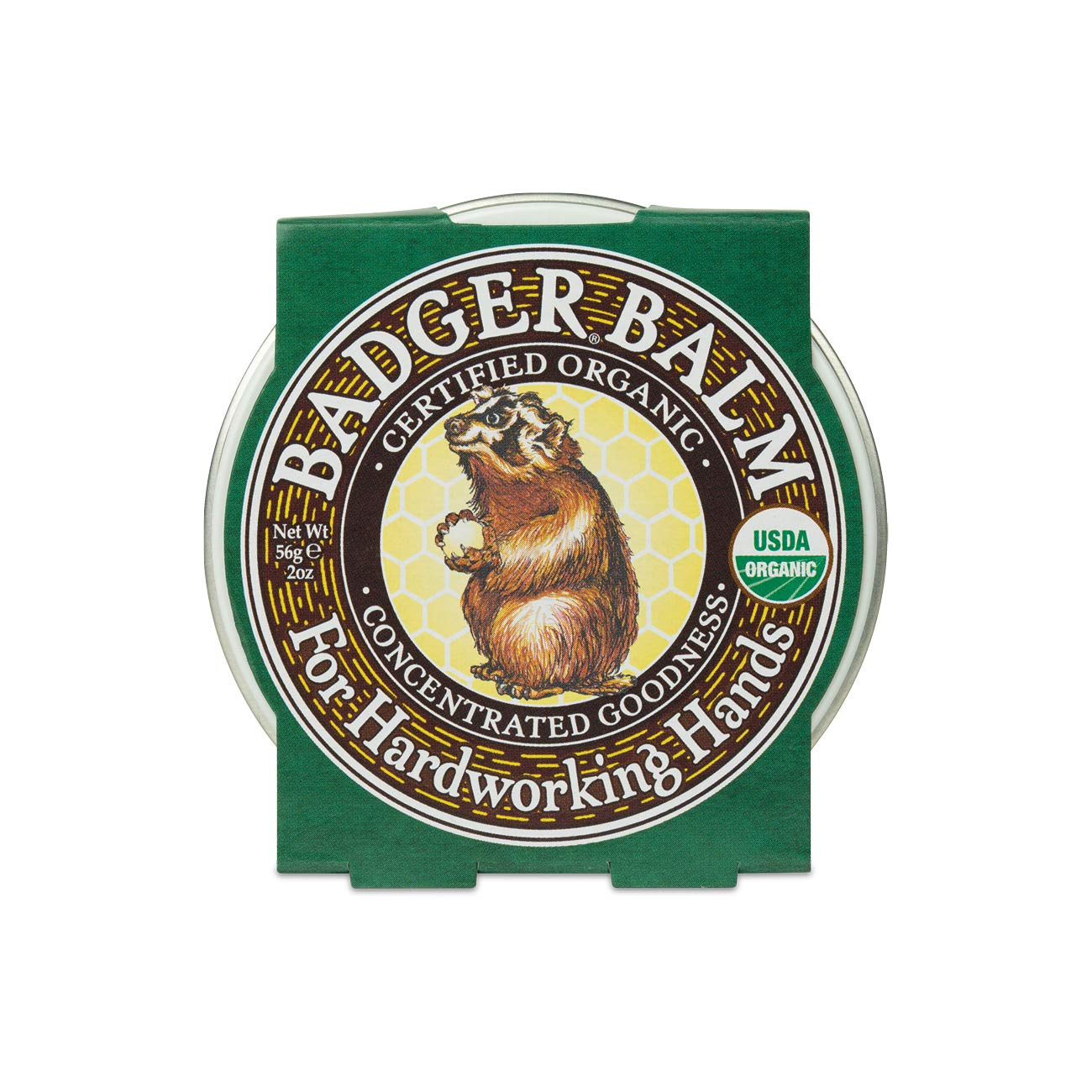 Badger - Hardworking Hands Healing Balm, Aloe Vera & Wintergreen, Working Hand Balm, Balm, for Dry Hands, Hand Moisturizer Balm, Certified Organic Hand Balm, Hand Repair Balm, 2 oz