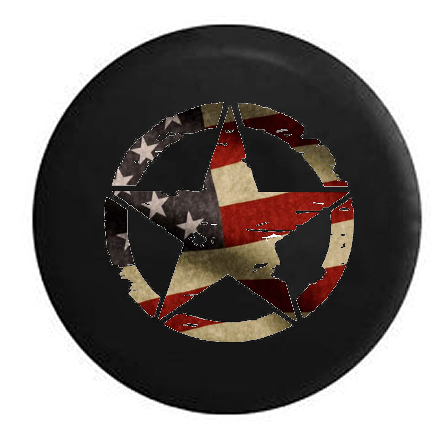 Oscar Mike Military Jeep Star Vintage American Flag Jeep RV Spare Tire Cover Black 33 in American Unlimited .