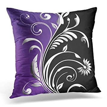 Amazoncom Throw Pillow Cover Silver Pretty Plum Black Floral