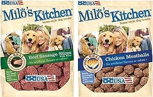 Milo's Kitchen Bundle: Chicken Meatballs and Beef Sausage Dog Treats, 18 Oz Each