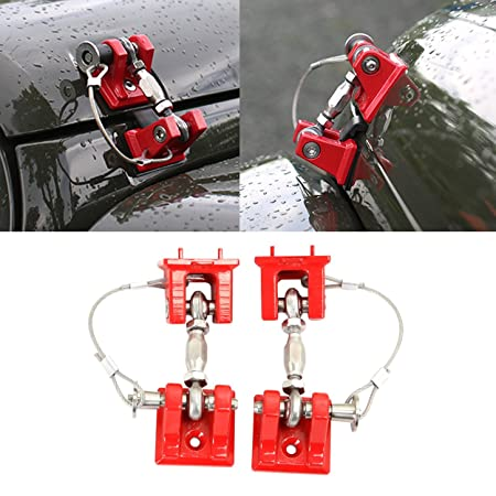 Allinoneparts Jeep Wrangler Hoods Catch Sets Hood Latch Lock Without Key Retro Red Steel Jeep Wrangler Accessories Jk Jku &Amp; Unlimited Rubicon Sahara Sports,2007 2018,Stainless Steel(Pair) by Allinoneparts