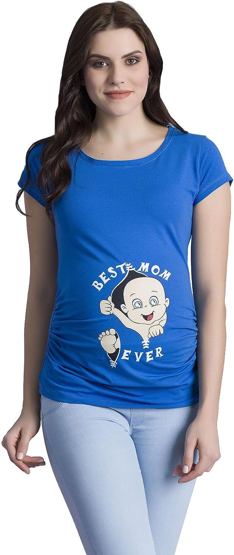 TALLA S. Best Mom Ever - Camiseta premamá Divertida con impresión para el Embarazo, Manga Corta
