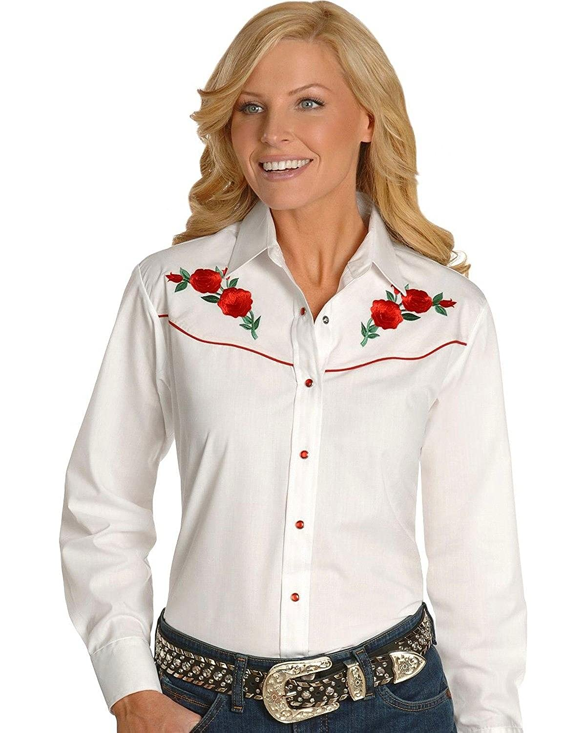 b200ee3f Ely Cattleman Women's Embroidered Roses Vintage Western Cowboy Shirt -  303801Asst