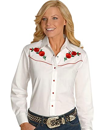 a6643055f9a693 Ely Cattleman Women's Embroidered Roses Vintage Western Cowboy Shirt White  Small