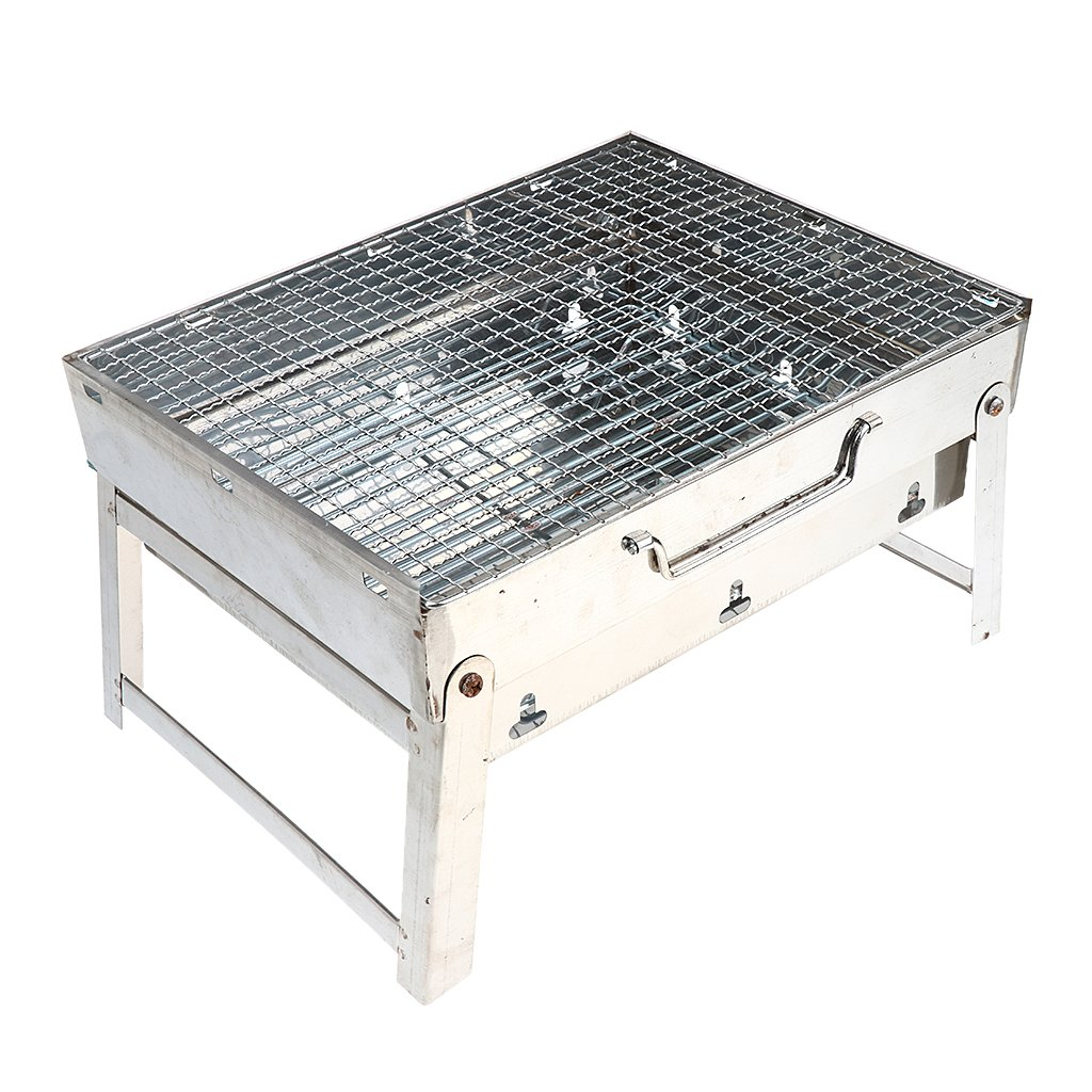Baosity Barbecue Charcoal Grill Folding Portable Kabob Steak Chicken Grill Rack Tools Made of Thickened Stainless Steel Outdoors