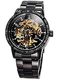 Alienwork IK mechanische Automatik Armbanduhr Skelett Automatikuhr Uhr Herren Uhren sport Zeitloses Design Edelstahl schwarz 98226-07
