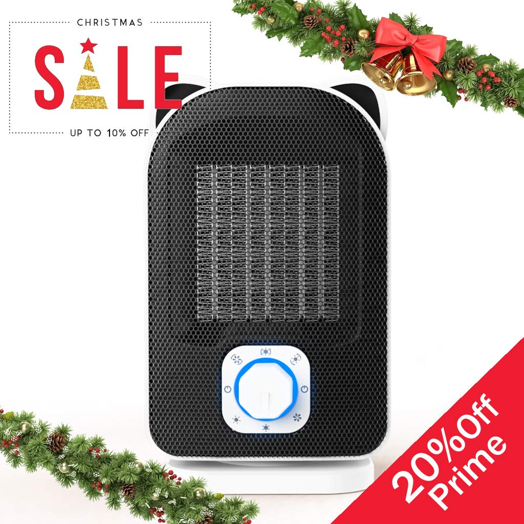 Plustore Space Heater, 110V Mini Electric Ceramic Heater, 5W 650W 1500W Portable Indoor Heater for Home Office, Hot Cool Fan with Adjustable Thermostat, Rotates 60 , Best Gift for Winter