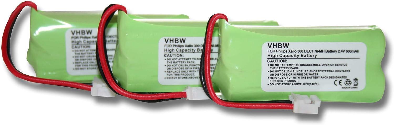 vhbw3 xNiMH batería 600mAh (2.4V) para teléfono Fijo inalámbrico Philips Aleor 300 por 2HR-AAAU, H-AAA500X2.