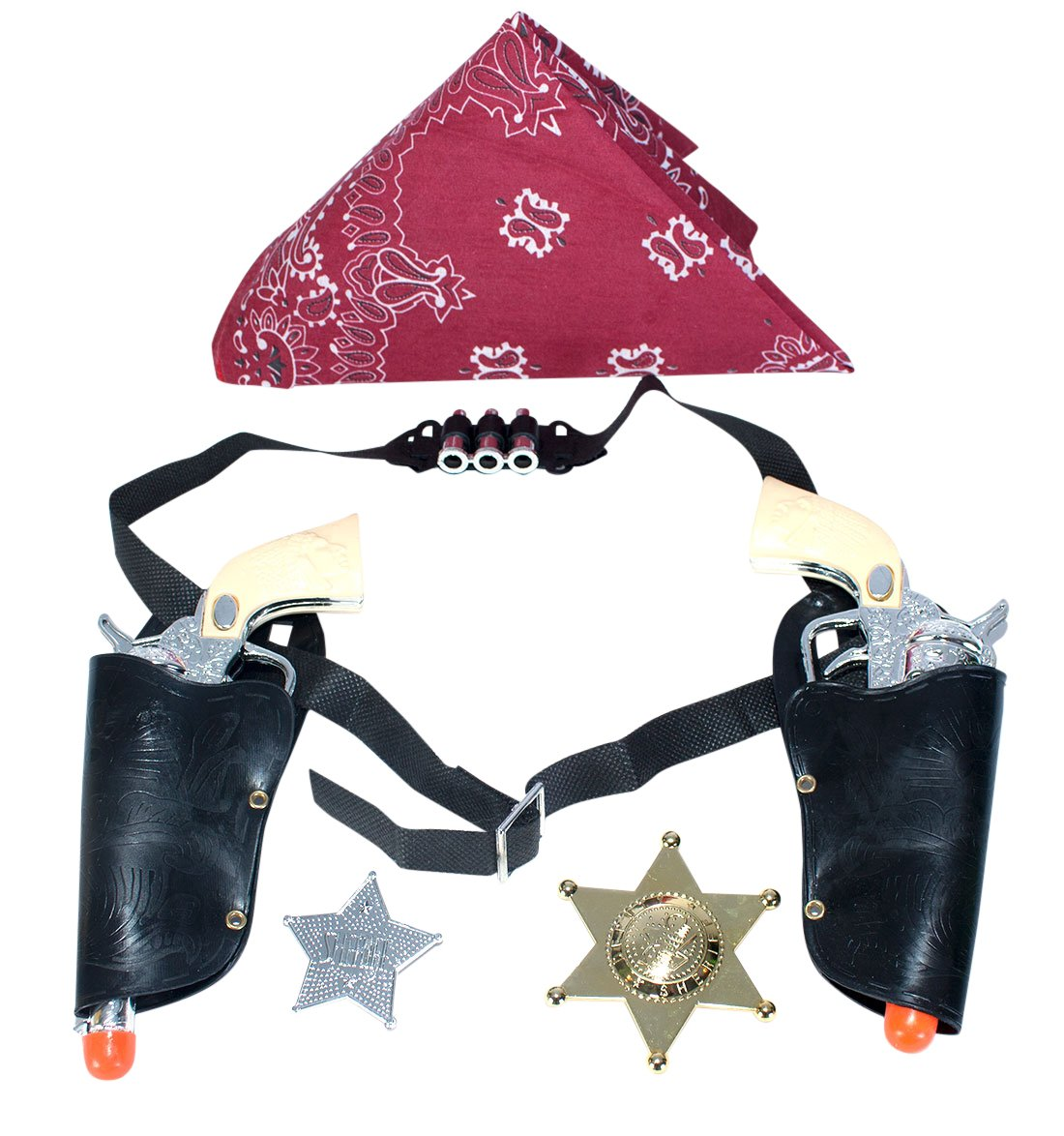 Imprints Plus Western Cowboy Gun Set with Red Bandanna, Gold and Silver Badge 1 of Each Item Rhode Island Novelty