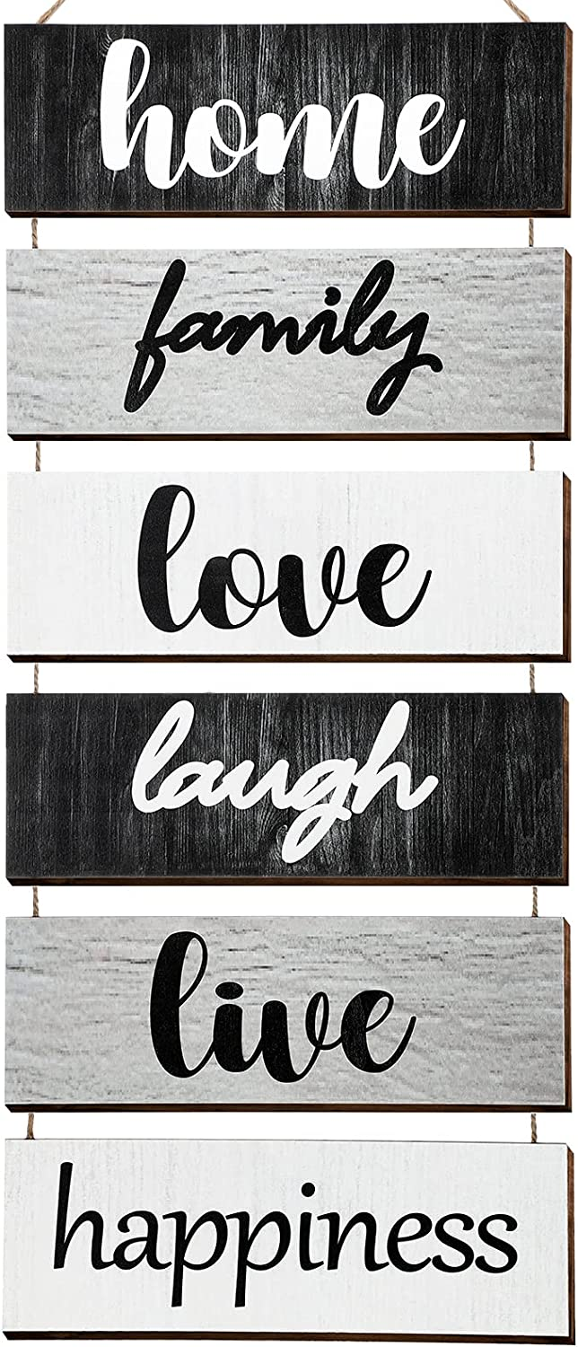 Home Family Love Laugh Live Happiness Hanging Wood Wall Decoration Large Hanging Wall Sign Rustic Wooden Decor for Home Kitchen Living Room Dining Room (Classic Color)