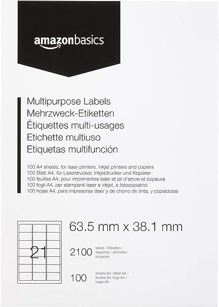 etichetta di cartone con adesivo permanente 100 fogli di 21 etichette autoadesive 2100 etichette adesive 63,5 x 38,1 mm