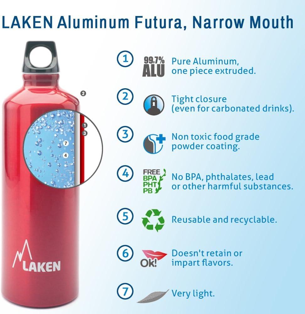 Screw Cap with Loop Leak-Proof Made in Spain 20-50 Ounces Laken Futura Aluminum Water Bottle Narrow Mouth BPA Free