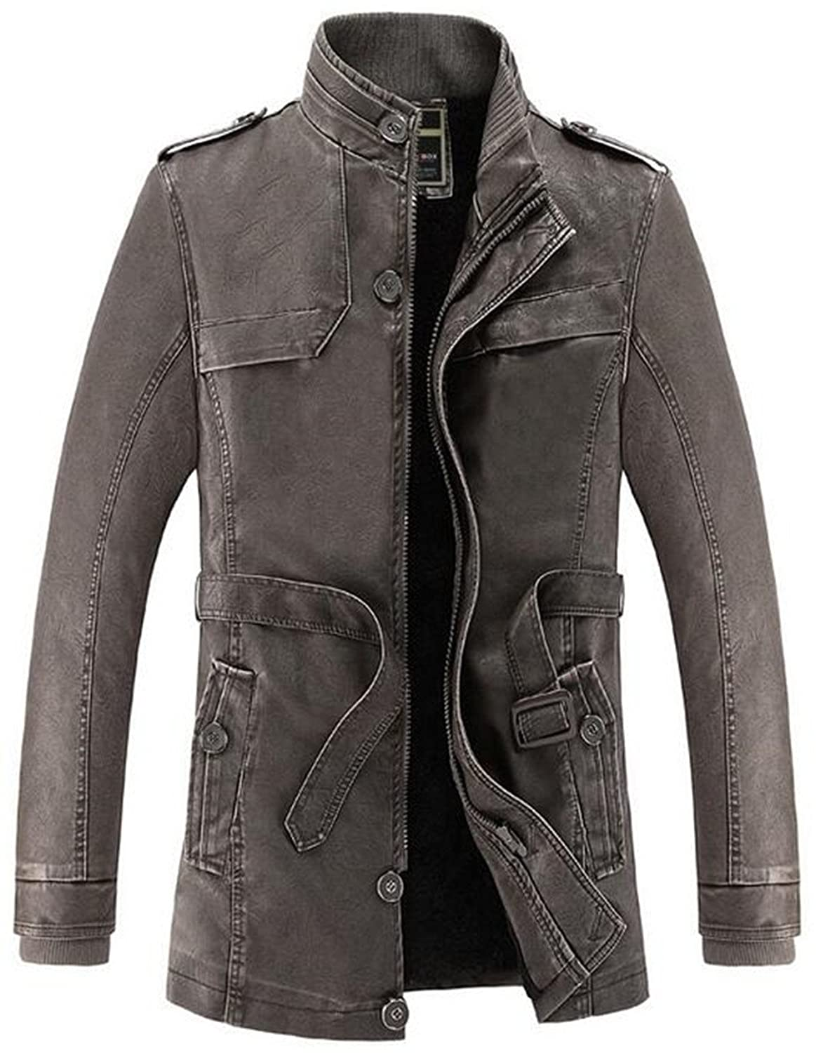 JJZXX Men's Faux Leather Jacket Thicken Warm Long Windbreaker Outerwear Velvet Lined