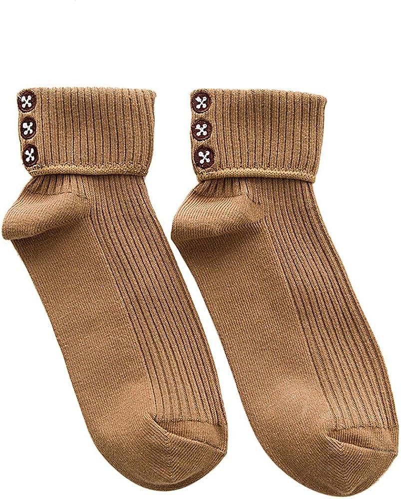 Calcetines de Lana Calientes Para Otoño e Invierno Estilo Vintage Hombre/ Mujer,Botón de mujer de impresión calcetines damas niñas algodón cálido suave Sox: Amazon.es: Ropa y accesorios