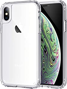 SOLEVA Hybrid Crystal Clear Case Designed for Apple iPhone XS (2018)/iPhone X (2017) 5.8-inch, Anti-scratch, Slim Fit, Highly Transparent, Hard Back, Soft Shockproof Bumper, Supports Wireless Charging