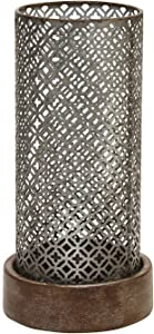 """Stratton Home Decor Moroccan Hurricane Candle Holder, Grey, Wood, 5.71"""" W x 5.71"""" D x 11.4"""" H"""