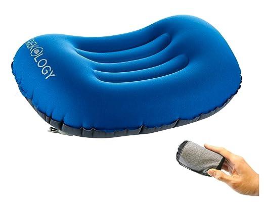 Trekology almohadas de viaje/camping súper ligeras. Almohada comprimible, compacta, inflable, cómoda y ergonómica para el cuello y el apoyo lumbar al ...