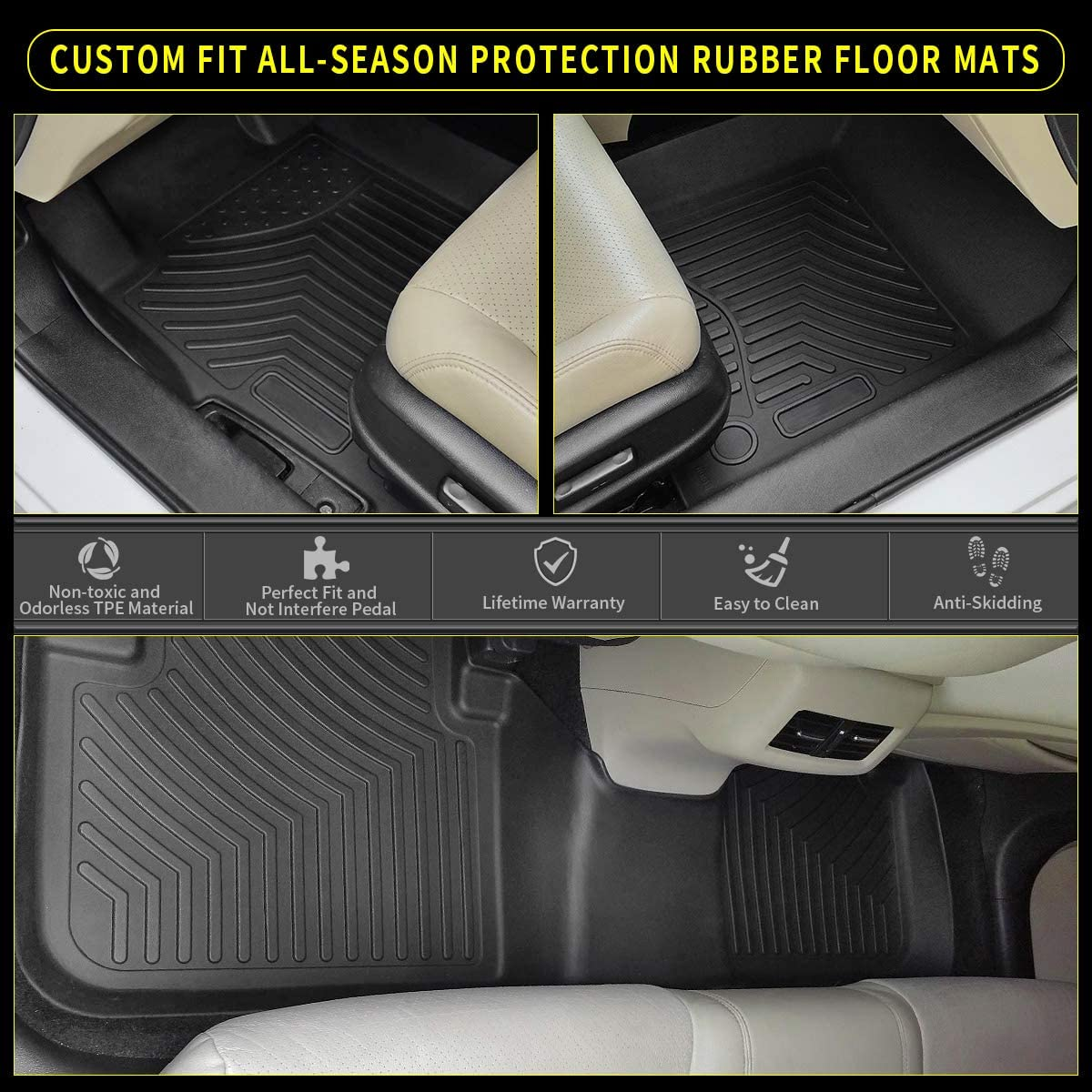 YITAMOTOR Floor Mats Compatible with 2015-2020 Chevy Colorado Crew Cab//GMC Canyon Crew Cab Custom Fit Floor Liners Black 1st /& 2nd Row All Weather Protection