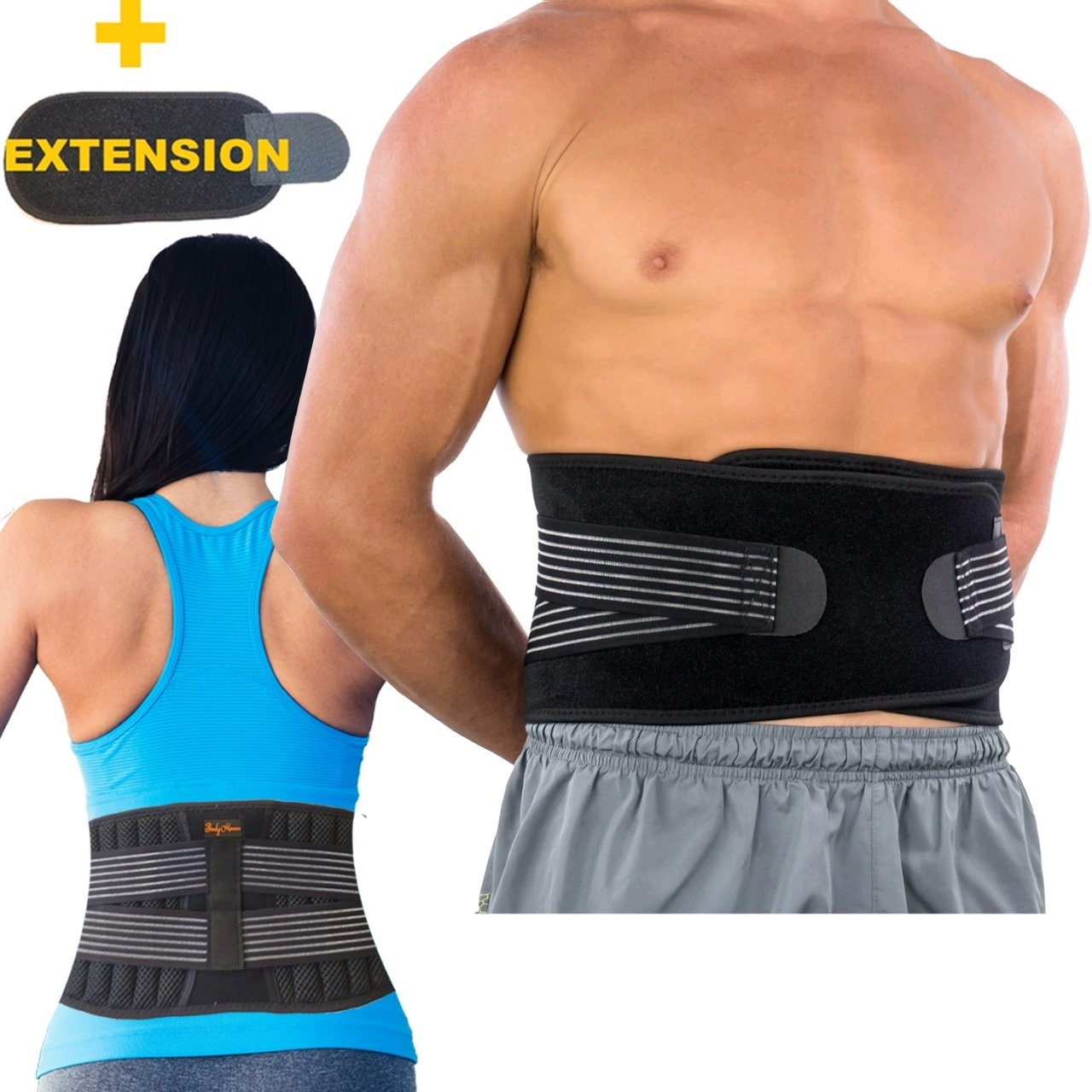 BodyMoves Back Brace Lumbar Support for Men and Women with Dual Adjustable Straps and Extension Belt -Lower Back Pain Relief,Spasm,Strain,Herniated Disc,Sciatica,Scoliosis,Lifting,Better Back (Reg)
