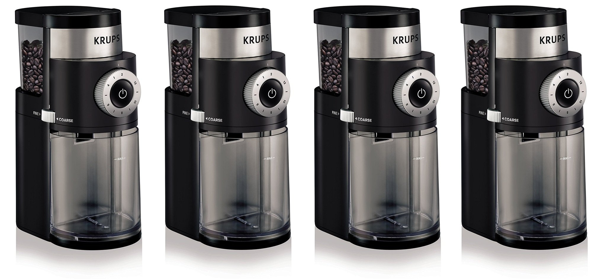 KRUPS GX5000 Professional Electric Coffee ywuFco Burr Grinder with Grind Size and Cup Selection, 7-Ounce, Black, Burr Grinder (Pack of 4)
