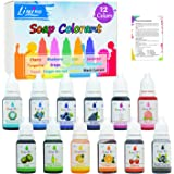 12 Color Bath Bomb Soap Dye - Skin Safe Bath Bomb Colorant for Soap Making Supplies - 0.35 oz Natural Liquid Food Grade…