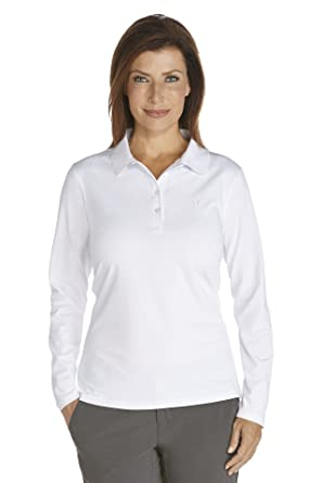 f5a67d6f8 Coolibar UPF 50+ Women s Long Sleeve Polo Shirt - Sun Protective at Amazon  Women s Clothing store  Polo Shirts