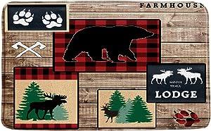 MNSC Bear Bath Mat Rustic Moose Bear Buffalo Plaid Band Deer Forest Animal Lodge Cabin Vintage Wooden Country Farm Wildlife Retro Microfiber Memory Foam Bathroom Decor Mat Non Slip Backing, 31